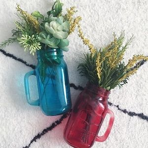 Set of 2 Mason Jars with handle and Faux Foliage